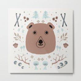 Whimsical Northwest Watercolor, a Brown Bear, Mushrooms and Skis Metal Print