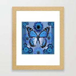 SHABBY CHIC CERULEAN BLUE BUTTERFLY FLORAL ART Framed Art Print