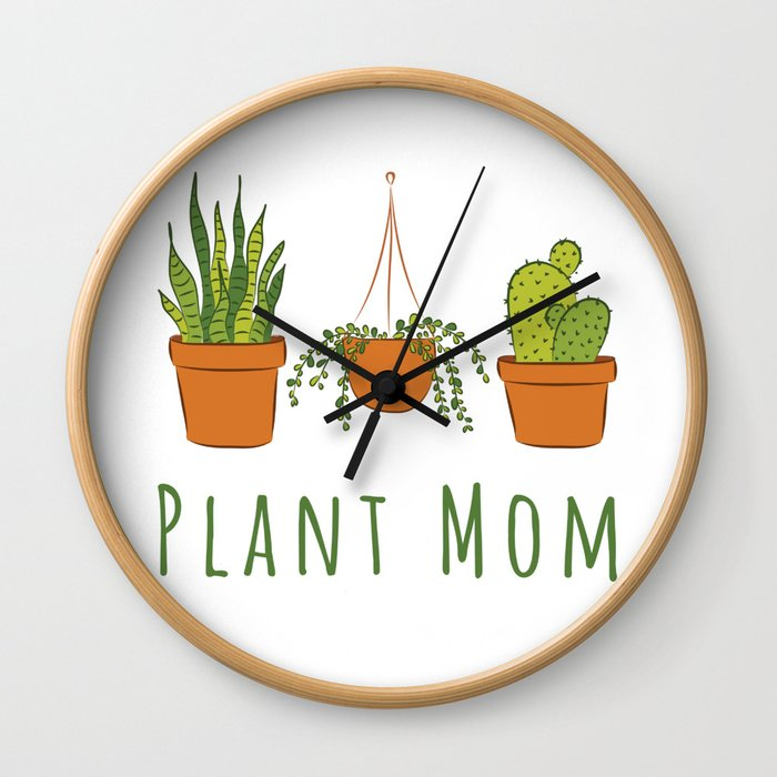 Plant Mom Wall Clock