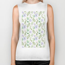 Watercolor lavender lilac green hand painted floral Biker Tank