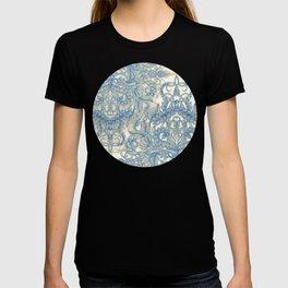 Blue & Tan Art Nouveau Pattern T-shirt
