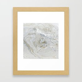 Marbled Castle - Elegant Abstract in Silver, White, and Gold Framed Art Print