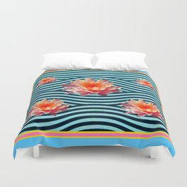 Peach Color Water Lily Water Garden Duvet Cover