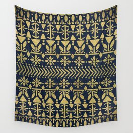 Norwegian Pattern – Gold on Navy Wall Tapestry