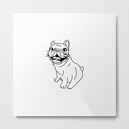 Frenchie Dog (b/w) Metal Print