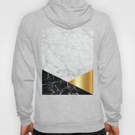 Geometric White Marble - Black Granite & Gold #944 Hoody