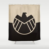 agents of shield Shower Curtains featuring Agents fo Shield by The Retro Inc
