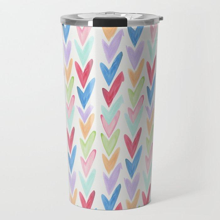 Modern hand painted colorful watercolor abstract chevron Travel Mug