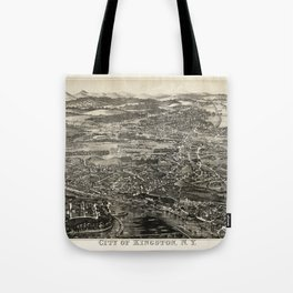 Aerial View of Kingston, New York (1875) Tote Bag