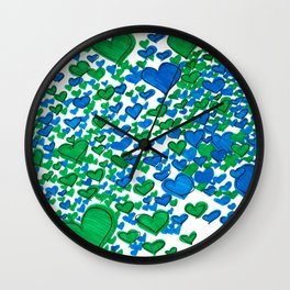 Love Collides - Blue & Green Hearts Wall Clock