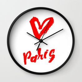 The word Paris with the heart. The hand drawn letters. Lettering and typographic design. Wall Clock