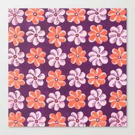 Floral design Orange & Purple Flowers print Canvas Print