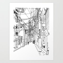 Osaka - downtown street Art Print