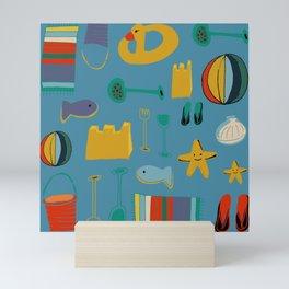 beach gear blue Mini Art Print