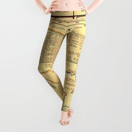 Illustrated Map of Well Known Salt Water Game Fish of North America Leggings