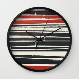 Navy Red Stripes Wall Clock