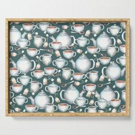 Tea Love Print, Cup of Tea, Tea Set, Hand-Painted, Vintage, Cream and Sugar, Cozy Tea Time Serving Tray