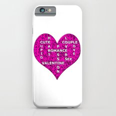 Hot Pink Marble Heart With Words iPhone 6s Slim Case