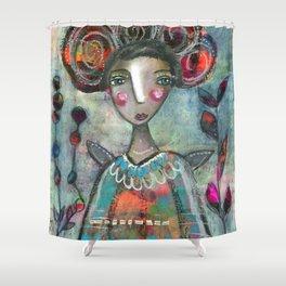 "Art Print ""She loved her life"" Shower Curtain"