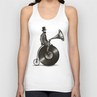mustache Tank Tops featuring Music Man by Eric Fan