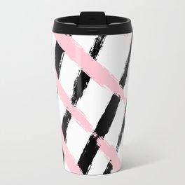 Pink and Black Sketch Checker Travel Mug