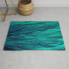 Teal Feathers Rug