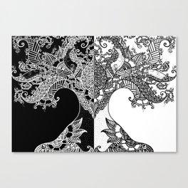 Unity of Halves - Life Tree - Rebirth - Black White Canvas Print