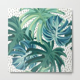 Hawaii Prints, Tropical, Green and Blue, Palms Prints Metal Print