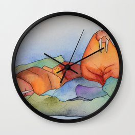 Warm Walrus Contemplating Cool Wishes Wall Clock