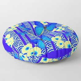 Blue Butterflies Cream-Blue Asia Style Modern Art Floor Pillow