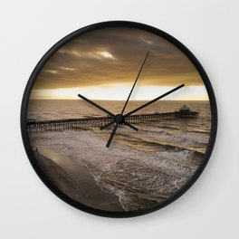 Folly Beach Pier in Gold Wall Clock