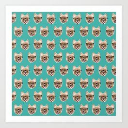 Pomeranian dog breed hipster glasses intellectual dog lover with personality Art Print