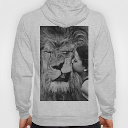 Grouchy Lion being kissed by brunette girl black and white photography Hoody