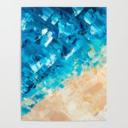 Deep | Abstract blue turquoise ocean beach acrylic brushstrokes painting Poster