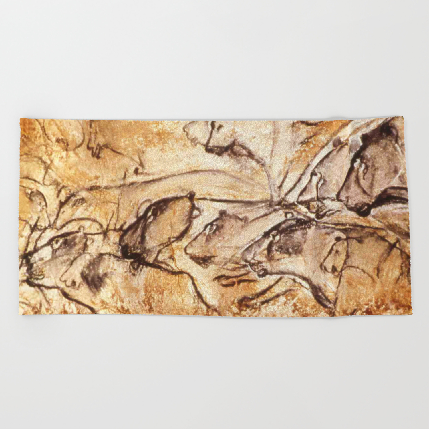 Panel Of Lions Chauvet Cave Beach Towel By Thinlinetextiles Society6