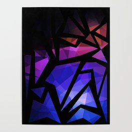 Abstract print of triangles polygon print. Bright dark design colors Poster