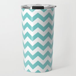 Aqua Chevron Travel Mug