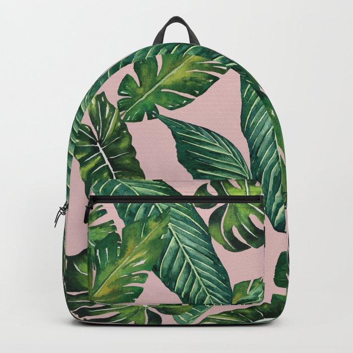 Jungle Leaves, Banana, Monstera II Pink #society6 Backpack