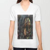 dexter V-neck T-shirts featuring Dexter  by John Hansen