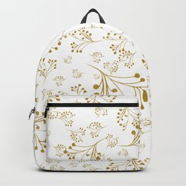 Holiday Flourishes in Digital Gold Foil Design on White Backpack