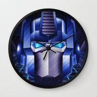 optimus prime Wall Clocks featuring Prime by doaly