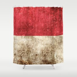 Vintage Aged and Scratched Indonesian Flag Shower Curtain