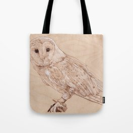Owl Portrait - Drawing by Burning on Wood - Pyrography Art Tote Bag