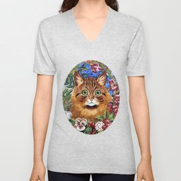 Louis Wain's Cats - Cat In the Garden Unisex V-Neck