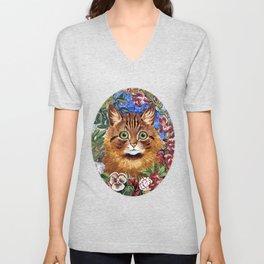 Louis Wain's Cats - Cat In the Garden Unisex V-Neck