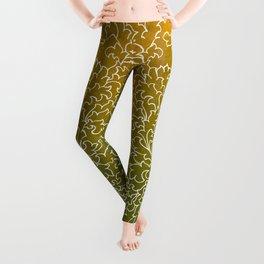 Green Yellow Grunge Leaves Leggings