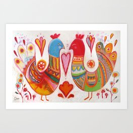 Folk Love Birds Art Print