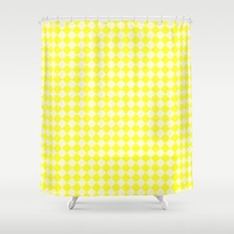 Cream Yellow and Electric Yellow Diamonds Shower Curtain