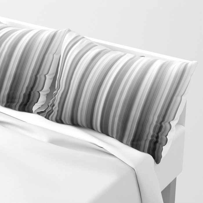 Black And White Soft Blurred Vertical Lines - Ombre Abstract Blurred Design Pillow Sham