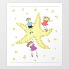 Kids around the star Art Print